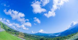 北海道 自然 風景 パノラマ きじひき高原展望台より駒ヶ岳方面遠望 (魚眼)の写真素材 [FYI03455507]