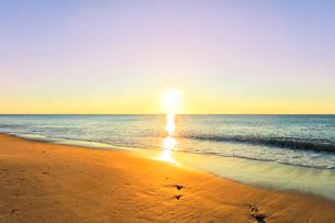 浜辺に寄せる波と朝日の写真素材 [FYI03455919]