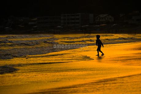 夕暮れの波打ち際で遊ぶ子供の写真素材 [FYI03456659]
