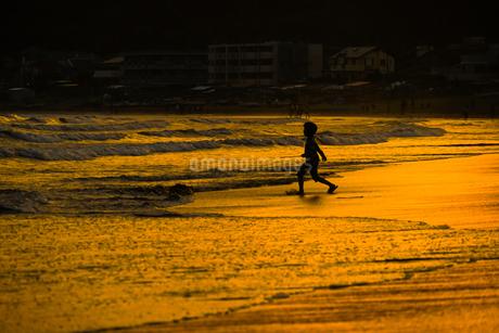 夕暮れの波打ち際で遊ぶ子供の写真素材 [FYI03456716]
