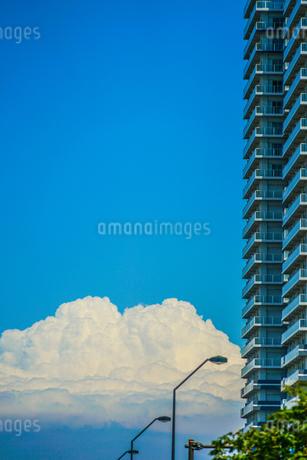 マンションの間から見える入道雲の写真素材 [FYI03456764]