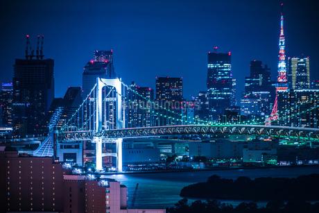 東京・お台場から見える東京の夜景の写真素材 [FYI03457007]