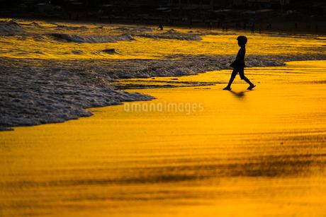 夕暮れの波打ち際で遊ぶ子供の写真素材 [FYI03457121]