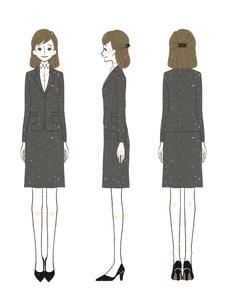 女性-スーツ-全身のイラスト素材 [FYI03457146]