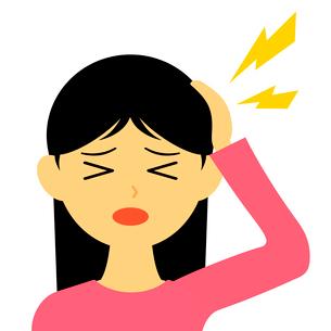 頭痛に苦しむ女性のイラスト素材 [FYI03457652]