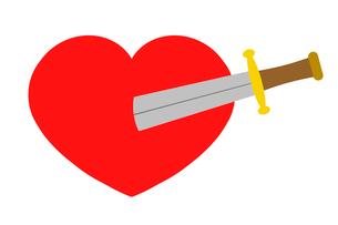 ハートに刺さる剣のイラスト素材 [FYI03457657]