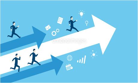 独走するビジネスマンのビジネスイメージのイラスト素材 [FYI03457725]