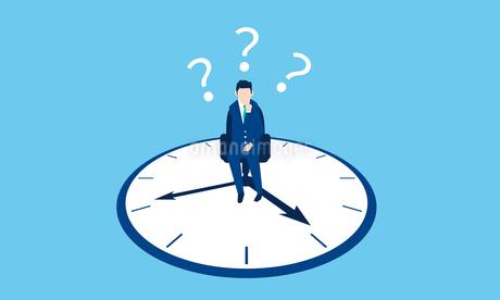 働き方改革のイメージ、時計とビジネスマンのイラスト素材 [FYI03457728]