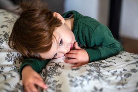 ハーフの男の幼児がベットの上に顔をのせて何かを見つめている様子の写真素材 [FYI03457735]