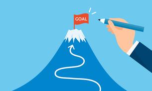 ゴールの旗と富士山、目標設定のイメージのイラスト素材 [FYI03457752]