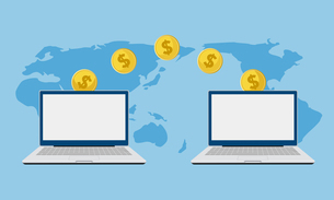 パソコンとお金のイメージのイラスト素材 [FYI03457785]