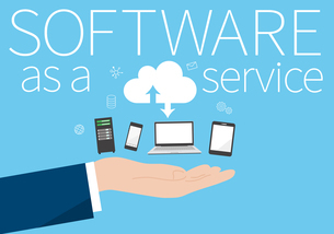 SaaS(サース)、software as a service、デバイスと手のイメージのイラスト素材 [FYI03457805]