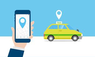 タクシー、配車アプリのイメージのイラスト素材 [FYI03457810]