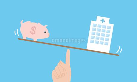 病院とお金の天秤イメージのイラスト素材 [FYI03457813]
