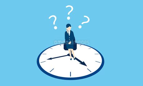 働き方改革のイメージ、時計とビジネスウーマンのイラスト素材 [FYI03457817]
