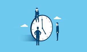 働き方改革のイメージ、ビジネスマンと時計のイラスト素材 [FYI03457819]