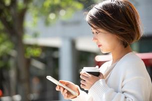 コーヒーを持ってスマホを触っている女性の写真素材 [FYI03457957]