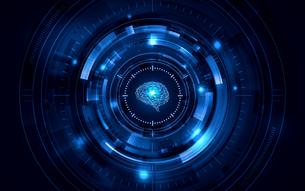 イラスト素材: 脳と人工知能ブルー、AIのイラスト素材 [FYI03458067]