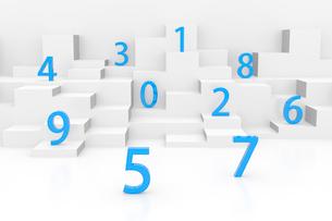 ランダムに並ぶ立体の数字 CGのイラスト素材 [FYI03458180]