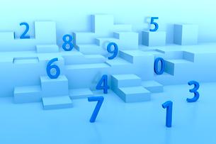ランダムに並ぶ立体の数字 CGのイラスト素材 [FYI03458181]