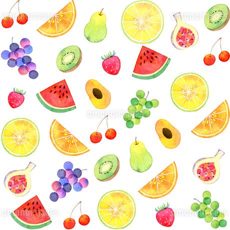水彩で描いたフルーツ模様のイラスト素材 [FYI03458771]