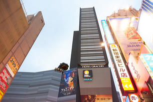 新宿東口歌舞伎町のビル群の写真素材 [FYI03458778]