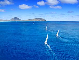ハワイカイの海とヨットの空撮の写真素材 [FYI03459113]
