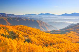 御岳高原から望む経ヶ岳などの山並みと朝の紅葉のカラマツ林の写真素材 [FYI03459293]