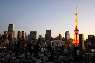 カラフルにライトアップされた東京タワーの夜景の写真素材 [FYI03459580]