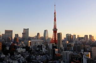 東京タワーの朝焼けの写真素材 [FYI03459591]