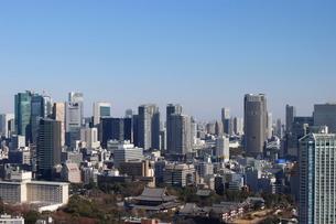 増上寺から汐留にかけての高層ビル群の写真素材 [FYI03459660]