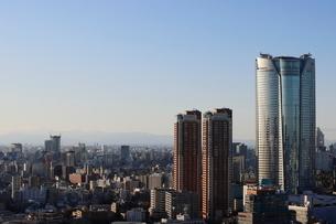 六本木ヒルズレジデンスの向こうに見える渋谷の街並みの写真素材 [FYI03459679]