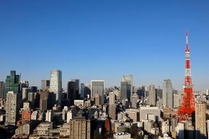 東京タワーと港区の高層ビル群の写真素材 [FYI03459682]