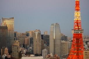 夕暮れどきの東京タワーと港区の高層ビル群の写真素材 [FYI03459711]
