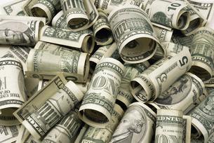 Rolled up dollar billsの写真素材 [FYI03459986]