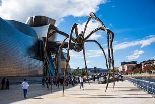 蜘蛛のオブジェと人:グッゲンハイム美術館の写真素材 [FYI03460681]