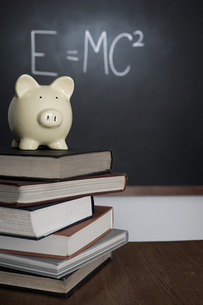 Piggy bank and pile of booksの写真素材 [FYI03460884]