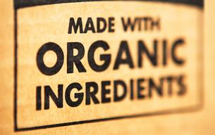 Organic ingredients labelの写真素材 [FYI03461144]