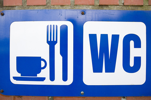 Sign for cafe and toiletの写真素材 [FYI03464016]