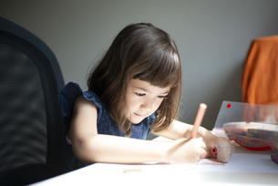 お絵かきをしている女の子の写真素材 [FYI03466603]