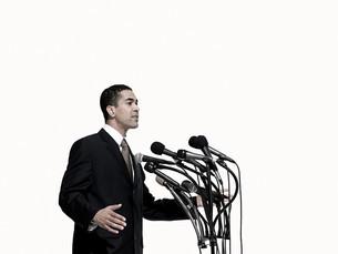 Politician giving speechの写真素材 [FYI03467572]