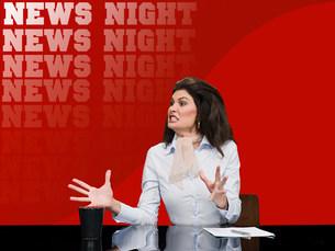 News presenter shoutingの写真素材 [FYI03468227]