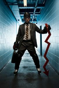 Businessman wearing an ice hockey uniformの写真素材 [FYI03468624]