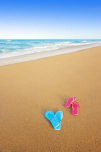 Flip flops discarded on the beachの写真素材 [FYI03468632]