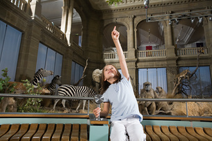 Girl in a museum with stuffed animalsの写真素材 [FYI03469319]
