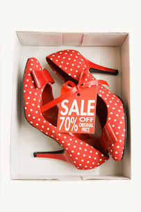 Pair of red high heeled shoesの写真素材 [FYI03469340]