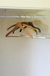 Coat hangers in wardrobeの写真素材 [FYI03469650]