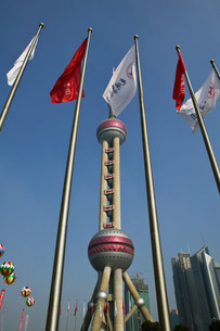 Flags and oriental pearl towerの写真素材 [FYI03470046]