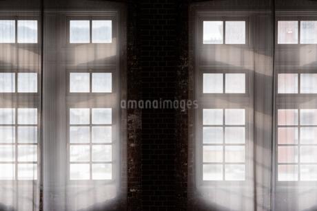 白いレースと窓の風景の写真素材 [FYI03472556]