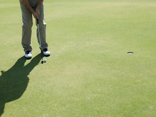 Man playing golf,on putting greenの写真素材 [FYI03474522]